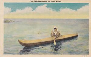 Alaska Eskimo and His Kayak