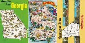 Georgia Map 3x Postcard s