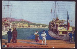 P1444 old unused postcard navy ships cannes le port un contre torpilleurl france