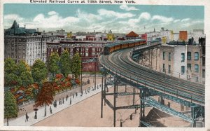 13249 Elevated Railroad Curve at 110th Street, New York City