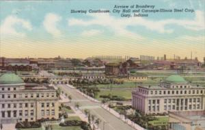 Indiana Gary Airview Of Broadway Showing Court House City Hall & Carnegie-Ill...