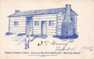 F52/ Middletown Ohio Postcard 1905 Grimes' Cabin Methodist Meeting House