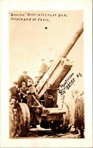 PARIS - 1919 - MARTINSON - Anti Aircraft Gun - RPPC VINTAGE PHOTO WW1 Postcard