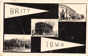 Britt Iowa~Multi View~Main Street~County Home~Hotel~Black Back Pennant~1915 RPPC