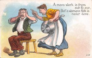 Comic Pun~Man's Work Sun to Sun~Woman's Talk Never Done~Covers Ears~Emboss~1912
