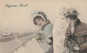 AS; V.K. VIENNE #5002/a; 1908; Joyeux Noel, Young man & lady with snowman