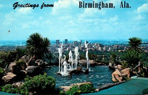 Alabama Birmingham Greetings Showing The Club Fountain and Panoramic View