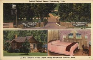 Gatlinburg TN Smoky Heights Resort Linen Postcard