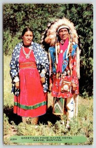 Havre Montana~Havre Hotel~Native Americans~Indian Couple~Rembrant Pub~1950s