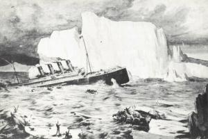 Art Postcard showing RMS Titanic sinking & Survivors in lifeboats and Iceberg 5V