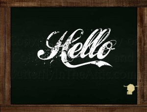 Set of 6  Postcards Blackboard Greetings - Hello - Simple Expressions