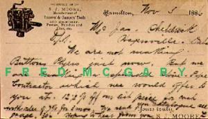 1886 Hamilton Ontario Illustrated Postal: Tinning & Canning