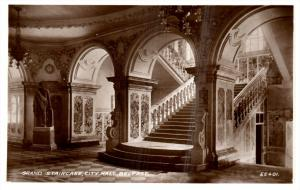 Northern  Ireland Belfast   Grand Staircase City hall real photo