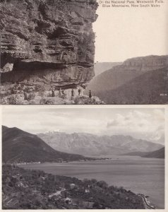 On The National Pass Wentworth Falls 2x Australia RPC Postcard s