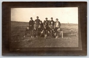 RPPC B Football Team~2 Players, One w/Unusual Helmet~Real Photo Postcard c1910