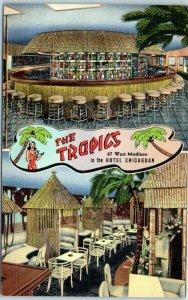 1940s Chicago IL Postcard THE TROPICS Restaurant Bar 67 W. Madison St. Linen