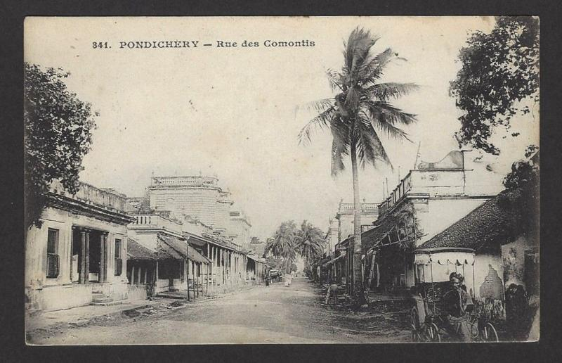 French India Pondicherry Rue des Comontis vintage postcard