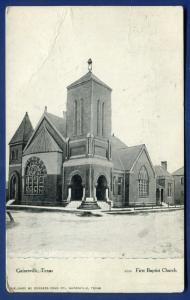 Gainesville Texas tx First Baptist Church old litho postcard