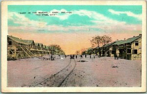 1935 Gary, Indiana Postcard GARY IN THE MAKING Street Scene w/ Cancel