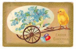 Chick, Blue Flowers Inside A Shoe, Easter Greetings, 1900-1910s