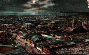 New York Coney Island Panoramic View At Night 1909