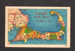 MA Auto Map Cape Cod Massachusetts Hyannis Dennis Brewster Orleans Postcard