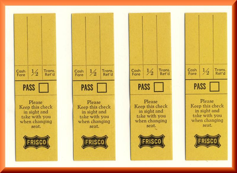 4 St. Louis & San Fransico Railway Tickets, Frisco Railroad/RR, 1960's?