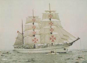 Sagres Portuguese Vintage Training Sailing Ship Red Cross Nurse Mast Postcard