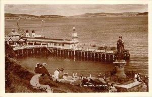 RPPC The Pier Dunoon Scotland Vintage Clothing Statue Boat Unused Photo Postcard