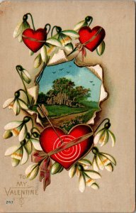 TO MY VALENTINE - EMBOSSED VINTAGE POSTCARD HEARTS LILLYS FOREST SCENE POSTED