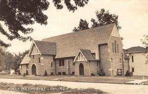 Missouri Valley Methodist Church~Arch Doorways~Fancy Gables RPPC 1940s