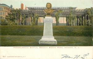 Newark New Jersey~Branch Brook Park~Mendelssohn Statue~1905~Post Card