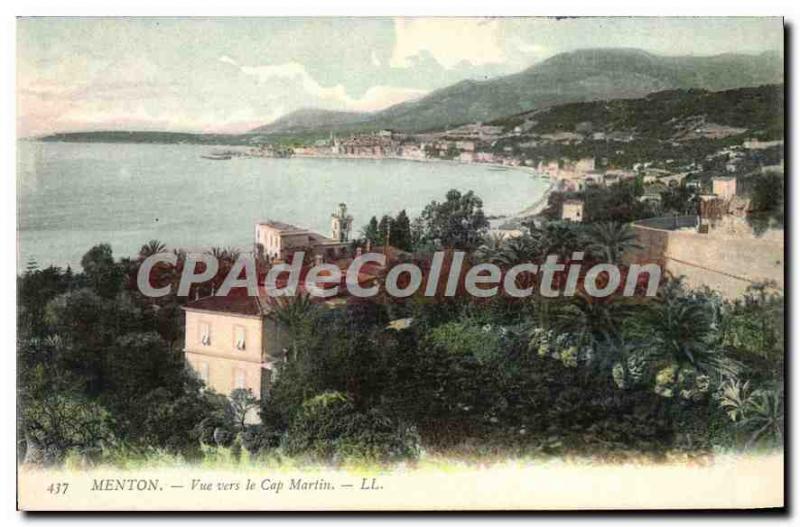 Old Postcard Menton View Towards Cape Martin