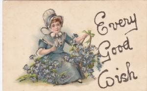 Girl with flower baskets , Every Good Wish , PU-1907