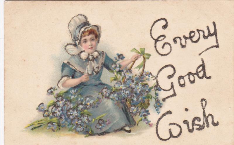 Girl with flower baskets , Every Good Wish , PU-1907