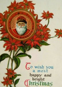 Santa Christmas Greeting Postcard Poinsettias Gel Coat Vintage Original Jmport