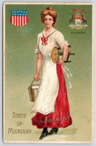 Michigan State Girl~Lovely Lady Milkmaid~Pail & Milking Stool~Seal~Embossed~1911
