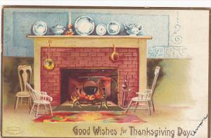 Clapsaddle Thanksgiving Fireplace Scene 1908