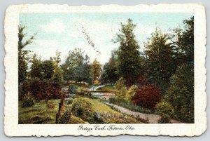 Fostoria Ohio~Man by Rustic Footbridge Over Portage Creek~1912 Deckled Postcard