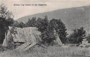 Oldest Log Cabin in the Catskills, Early Postcard, S. Cairo, N.Y. 1909 Cancel