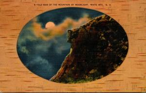 New Hampshire White Mountains Old Man Of The Mountain By Moonlight 1946