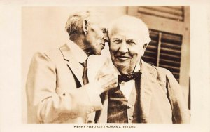 Henry Ford and Thomas A. Edison, Early Real Photo Postcard, Unused