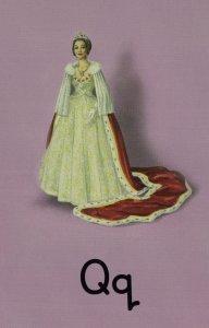 Q Is For Queen Elizabeth China Porcelain Statue Ladybird Book Postcard