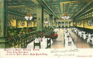 C-1910 Kalil's Main Dining Room Interior New York City postcard 12008