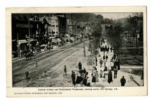 Hot Springs Arkansas Postcard Central Ave. & Government Promenade #75559