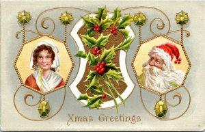 Postcard Embossed Xmas Greetings Santa w/ Girl Wearing Bonnet 1910 L12
