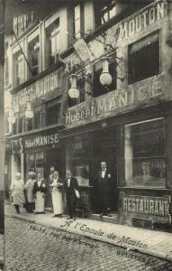 belgium, BRUSSELS BRUXELLES, A l'Epaule de Mouton Restaurant Hubert Manise 1910s
