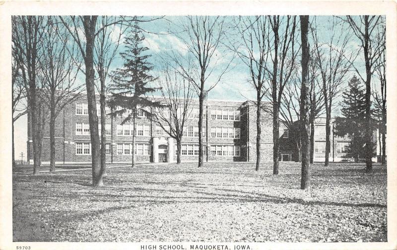 Maquoketa Iowa~High School Building & Grounds~Bare Trees~1920s Blue Sky Postcard