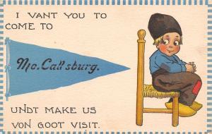 I Vant You to Come to McCallsburg Iowa~Make Us Goot Visit~1914 Pennant PC