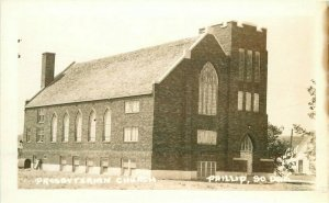 Presbyterian Church Phillip South Dakota 1940s RPPC Photo Postcard 11974